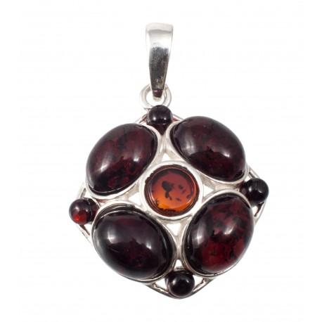Silver-amber pendant