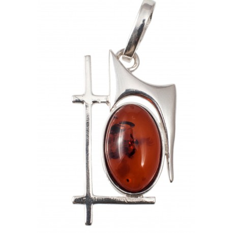 Silver-amber pendant