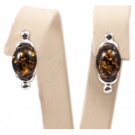 Silver-amber earrings