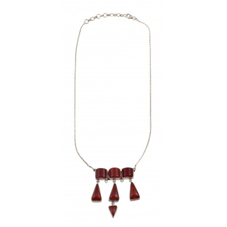 Silver necklace with cornelian