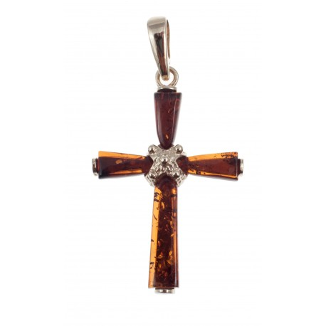 Golden pendant-cross with amber