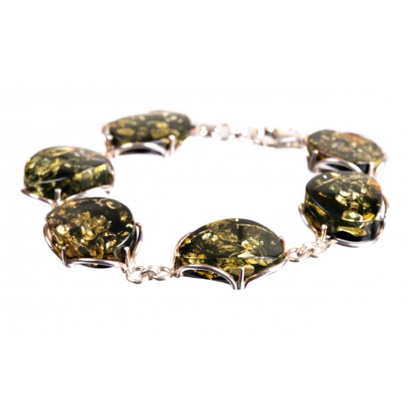 Silver bracelet with green amber