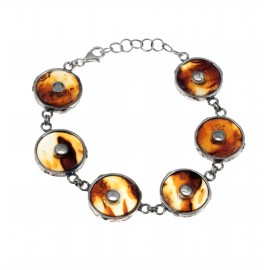 Silver bracelet with transparent amber
