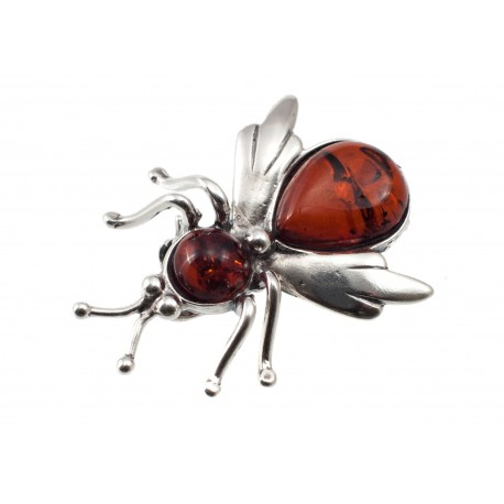 "Amber-silver brooch ""Fly"""