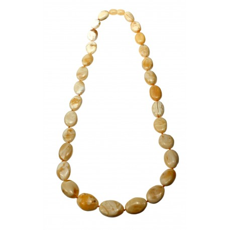 "Yellow - white amber necklace ""Purity"""