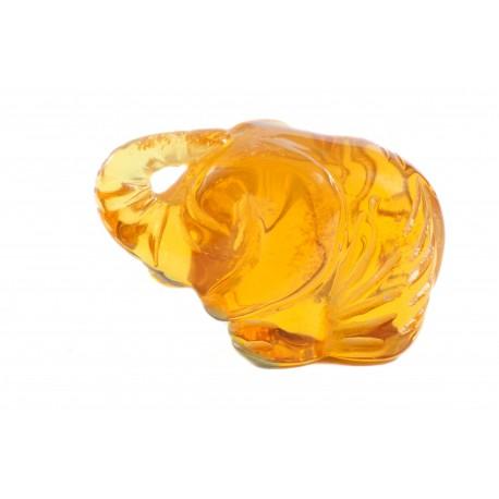 """Yellow amber figurine """"Funny Elephant"""""""