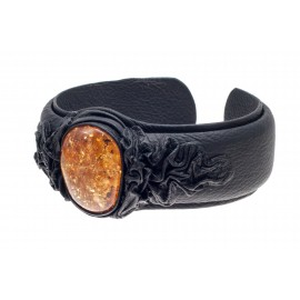 Black leather bracelet with yellow amber