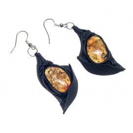 Black leather earrings with yellow amber