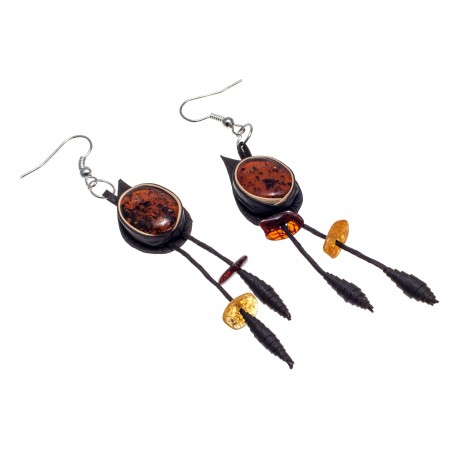 Dark brown color leather earrings with cognac amber