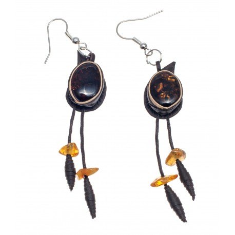 "Dark brown colour leather earrings ""Witches' Patterns"""