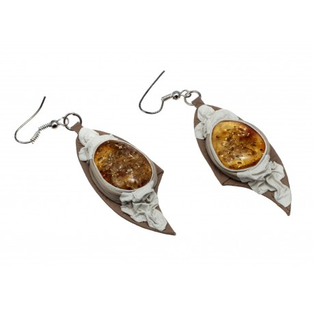 "White coffee colour leather earrings with yellow amber ""Sun Flash"""