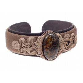 "Dark and light brown color leather bracelet with green amber ""Moss greenery"""