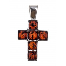 Silver pendant-cross with amber