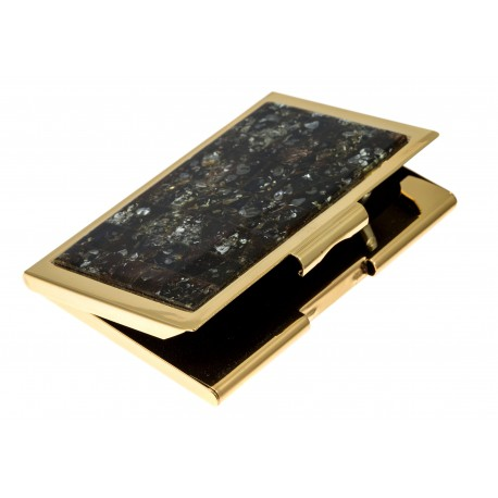Business card holder with green amber