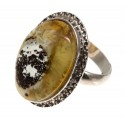 Silver ring with amber