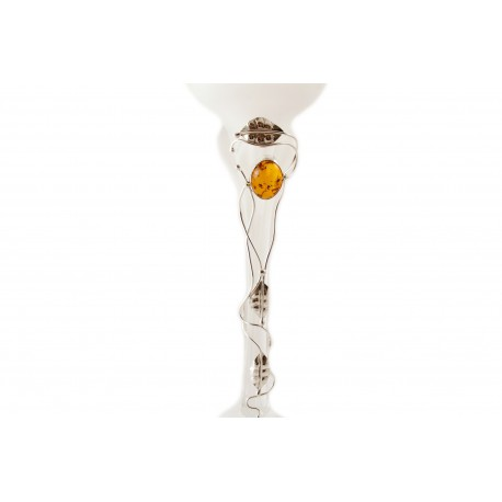 Glass candlestick decorated with amber and tin