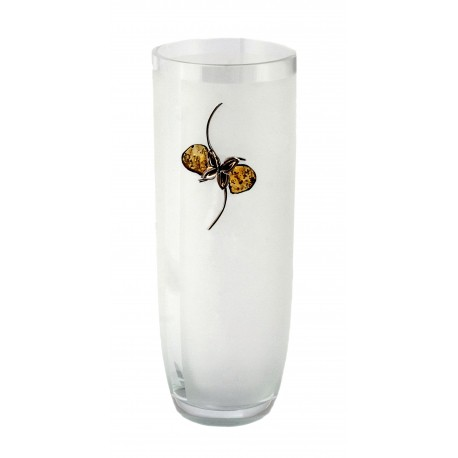 Amber and silver decorated glass vase