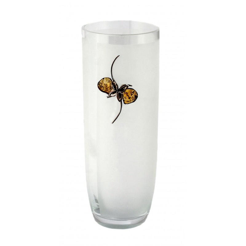 Amber And Silver Decorated Glass Vase Balticbuy Amber Jewelry