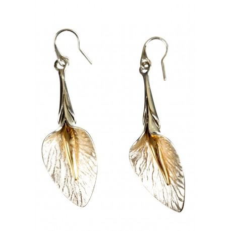 Silver earrings with gold-plated brass