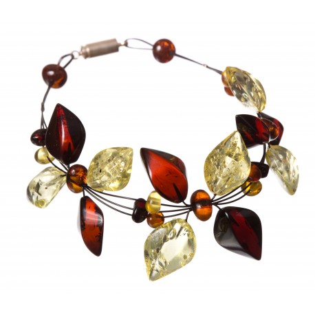 Light, cognac and lemon-colored amber bracelet