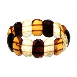 Diamond-polished, multicoloured amber bracelet
