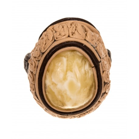 Sand-colour, leather ring with white amber