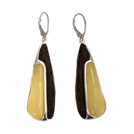 Silver earrings with amber and wood