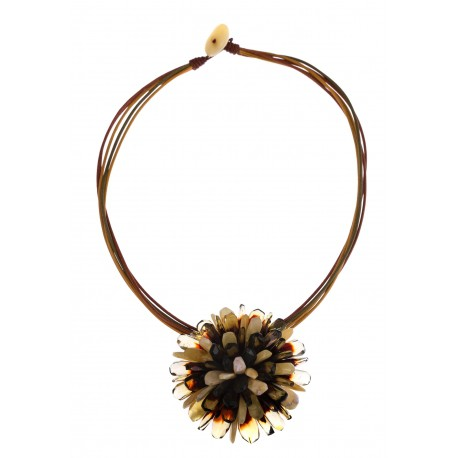 """Amber necklace-brooch """"The Flower"""""""