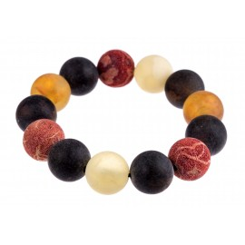 "Colorful natural amber and coral bracelet ""The Sea"""