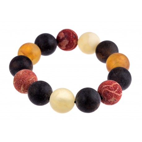 """Colorful natural amber and coral bracelet """"The Sea"""""""