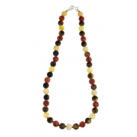 "Amber and coral necklace ""Traveler"""