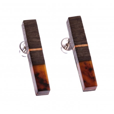 "Silver earrings with amber and wood ""Cowslip"""