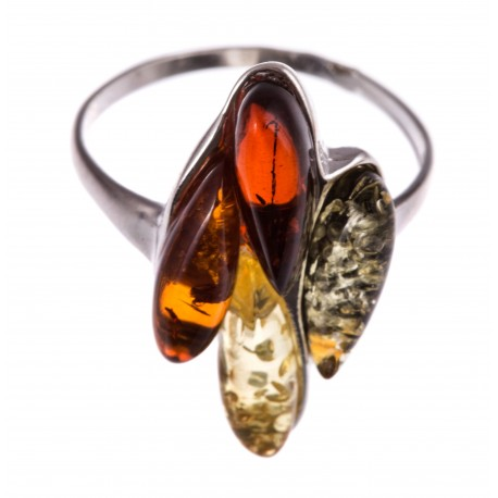 Silver ring with multicolored amber