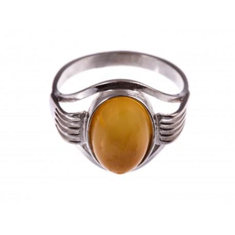 """Sidabrinis žiedas su gintaru """"Geltona rožė"""""""
