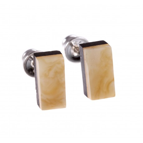 """Silver earrings with amber and wood """"Spring"""""""