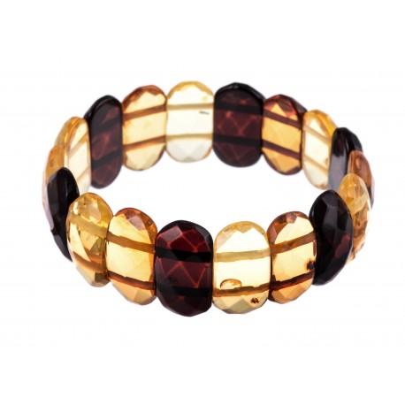 "Diamond-polishing, multicoloured amber bracelet ""Summer Rain"""