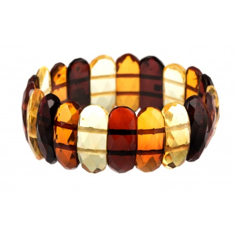 "Diamond-polishing, multicoloured amber bracelet ""Summer Rain"""