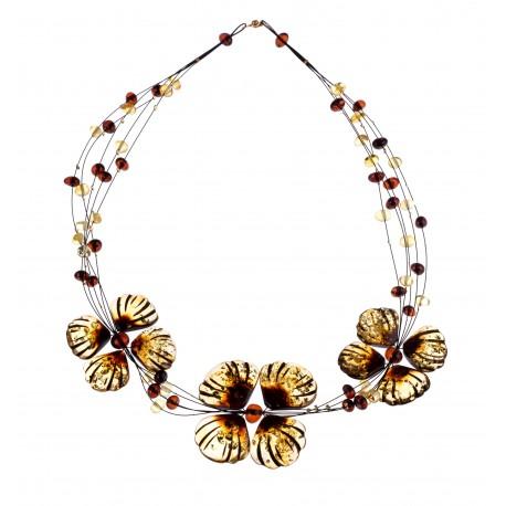 Cognac and lemon-colored necklace