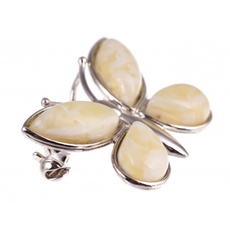 """White amber - silver brooch """" A Butterfly"""""""