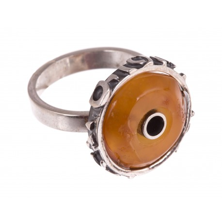 "Silver ring with amber ""The Artefact"""