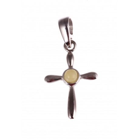 "Silver pendant with amber ""A Cross"""