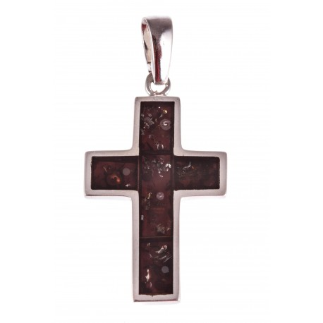"""Silver pendant with amber """"A Cross"""""""