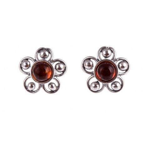 """Silver earrings with amber """"Summer Nights"""""""