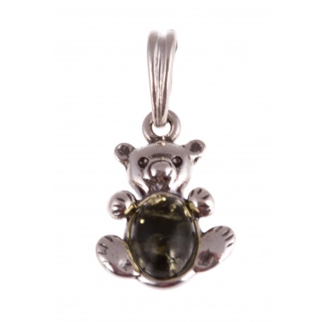 """Silver pendant with amber """"A Teddy Bear"""""""