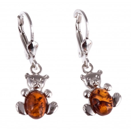 """Silver earrings with amber """"Amber Bears"""""""