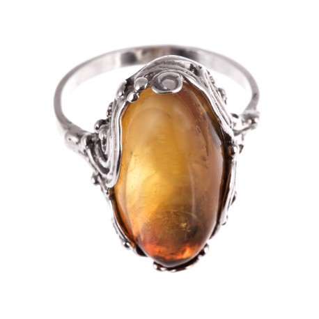 "Silver-amber ring ""Hot Summer"""