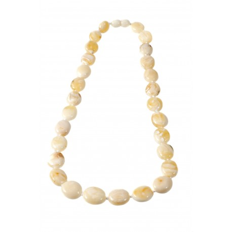 White classical oval amber beads