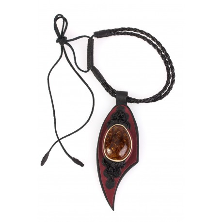 "Black and brown leather necklace with dark-yellow amber ""The Lake of  Peacefulness"""