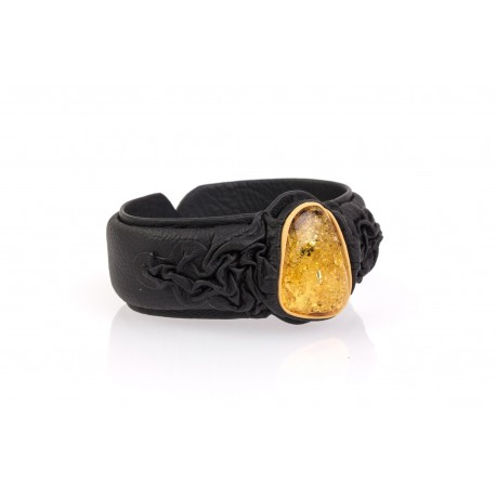 """Black and brown leather bracelet with amber """"The Oasis of Memories"""""""