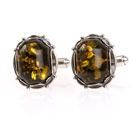 "Silver cufflinks with amber ""The Secret of Luck"""